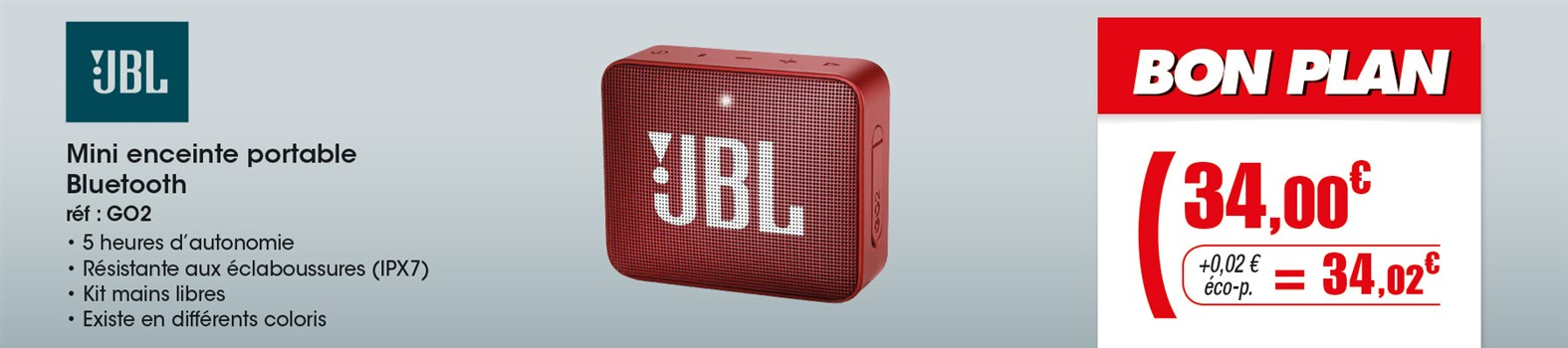 Enceinte portable JBL GO 2 RED